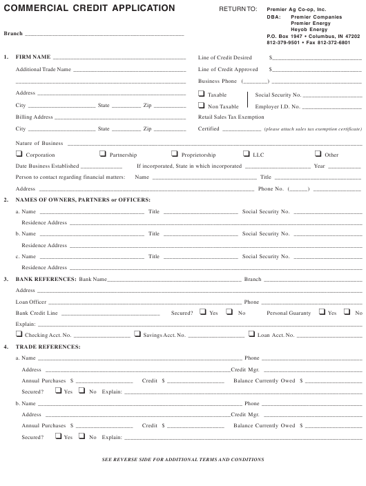 """""""Commercial Credit Application Form"""" - Indiana Download Pdf"""