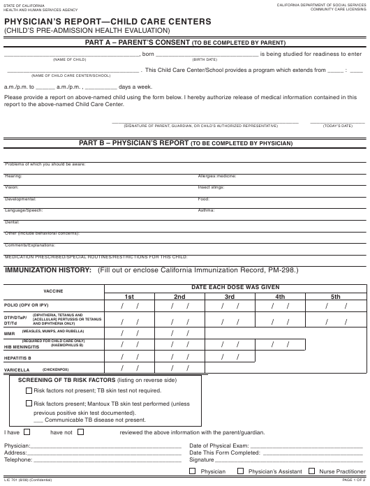 Form LIC 701 Fillable Pdf