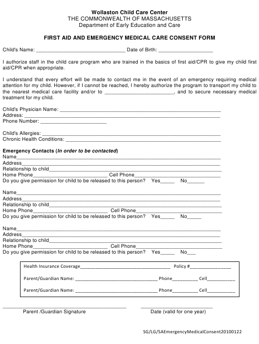 """""""First Aid and Emergency Medical Care Consent Form - Wollaston Child Care Center"""" - Massachusetts Download Pdf"""