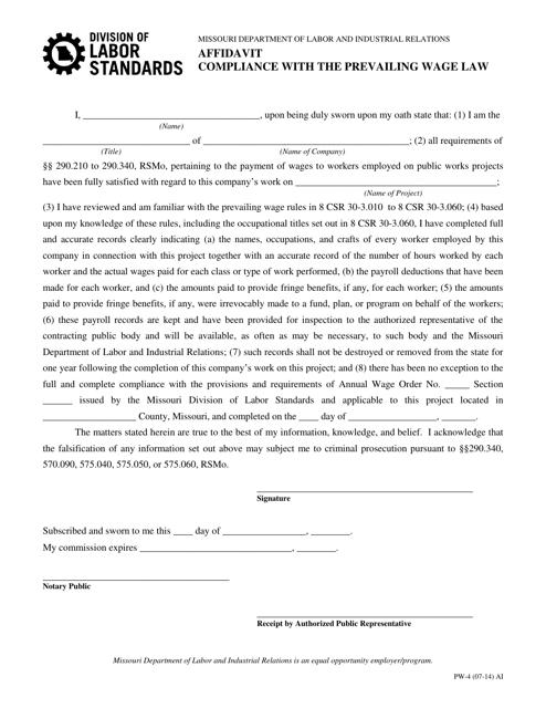 Form PW-4  Printable Pdf