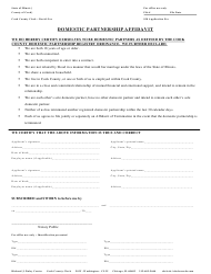 """Domestic Partnership Affidavit Form"" - Cook County, Illinois"