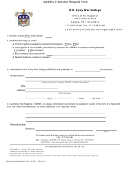Form 103-r-e Usawc Transcript Request Form - Us Army War College - Massachusetts