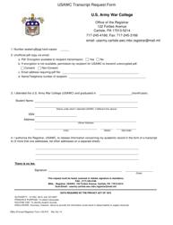 Form 103-r-e Usawc Transcript Request Form - Us Army War College - Massachusetts