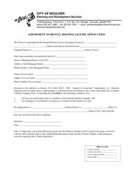 """""""Amendment to Rental Housing License Application"""" - City of Boulder, Colorado"""