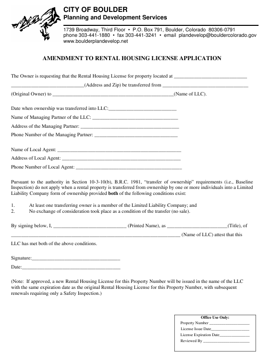 """Amendment to Rental Housing License Application"" - City of Boulder, Colorado Download Pdf"