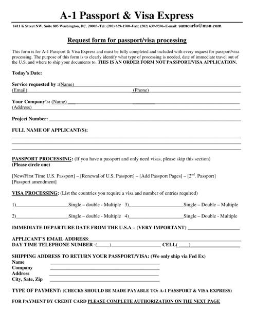 """Request Form for Passport/Visa Processing - a-1 Passport & Visa Express"" - Washington, D.C. Download Pdf"
