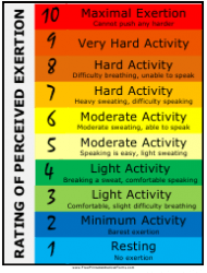Perceived Exertion Rating Chart