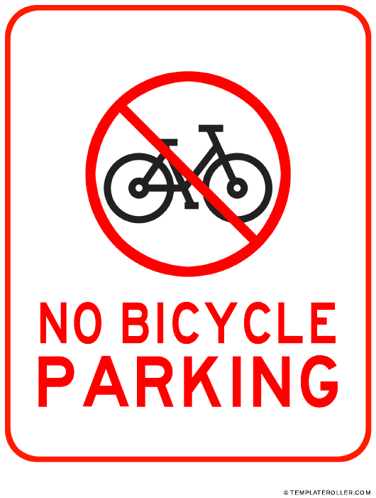 """No Bicycle Parking Sign Template"" Download Pdf"