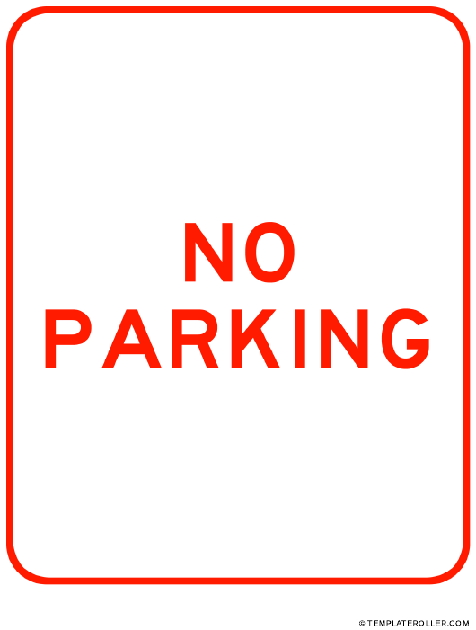 """""""Red No Parking Sign Template"""" Download Pdf"""