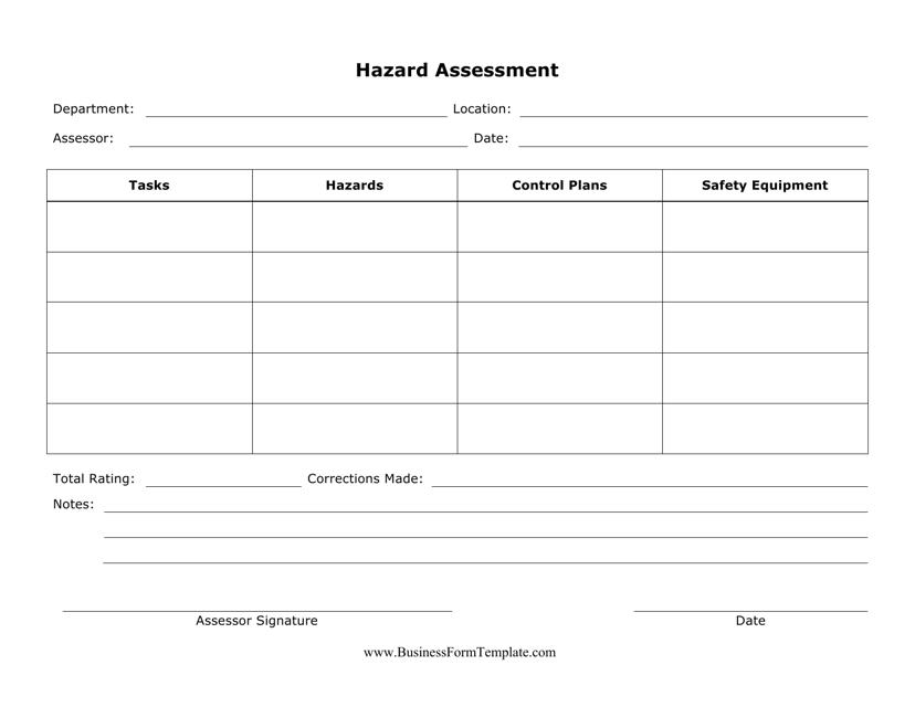 """""""Hazard Assessment Form"""" Download Pdf"""