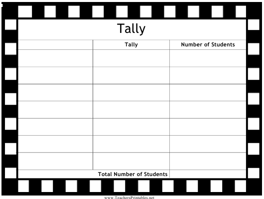 """Blank Tally Chart Template"" Download Pdf"