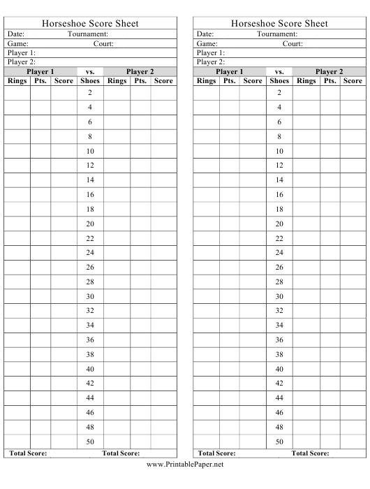 image about Www Printablepaper Net referred to as Horseshoe Rating Sheets Down load Printable PDF Templateroller