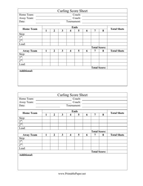 """Curling Score Sheet Template"" Download Pdf"