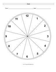 Clock Face Time Worksheet