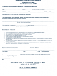 Hunting Methods Exemption Form - Crossbow Permit - Kentucky