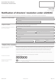 "Form 397 ""Notification of Directors' Resolution Under S324dac"" - Australia"
