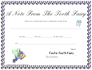 """""""A Note From the Tooth Fairy Certificate Template"""""""