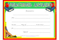 """Teacher Award Certificate Template"""