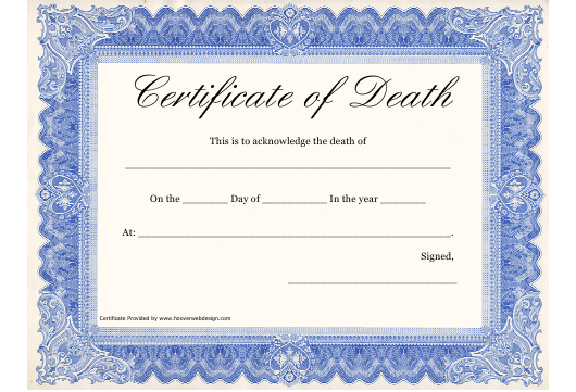 """Certificate of Death Template"" Download Pdf"