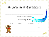 """Shining Star Achievement Certificate Template"""