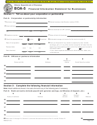 "Form BOA-5 ""Financial Information Statement for Businesses"" - Illinois"