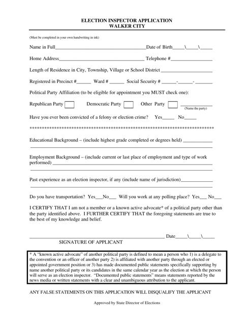 """Election Inspector Application Form"" - Walker City, Michigan Download Pdf"