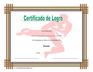"""Certificado De Logro En Karate"" (Spanish)"