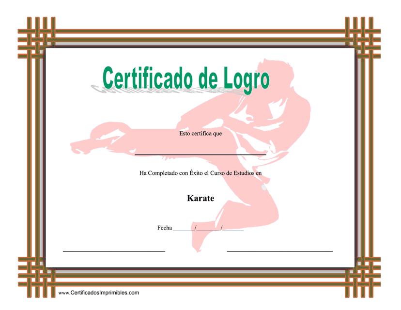 """""""Certificado De Logro En Karate"""" (Spanish) Download Pdf"""