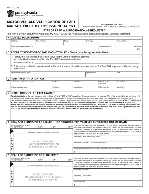 Form MV-3  Printable Pdf