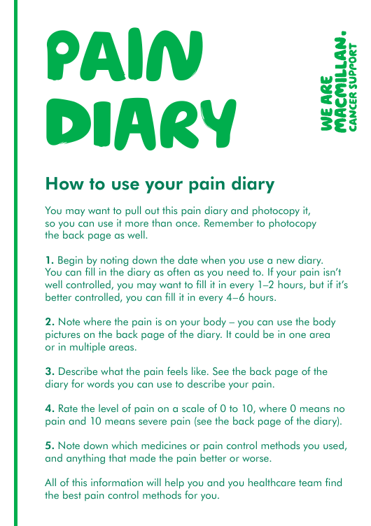 """""""Pain Diary Template - We Are Macmillan Cancer Support"""" Download Pdf"""