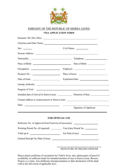 """Sierra Leone Visa Application Form - Embassy of the Republic of Sierra Leone"" Download Pdf"