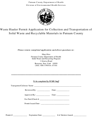 """""""Waste Hauler Permit Application for Collection and Transportation of Solid Waste and Recyclable Materials in Putnam County"""" - Putnam County, New York"""