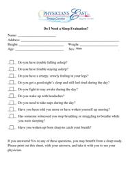 Sleep Evaluation Form - Physicians East Sleep Center