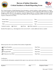 Critical Incident or Death Reporting Form