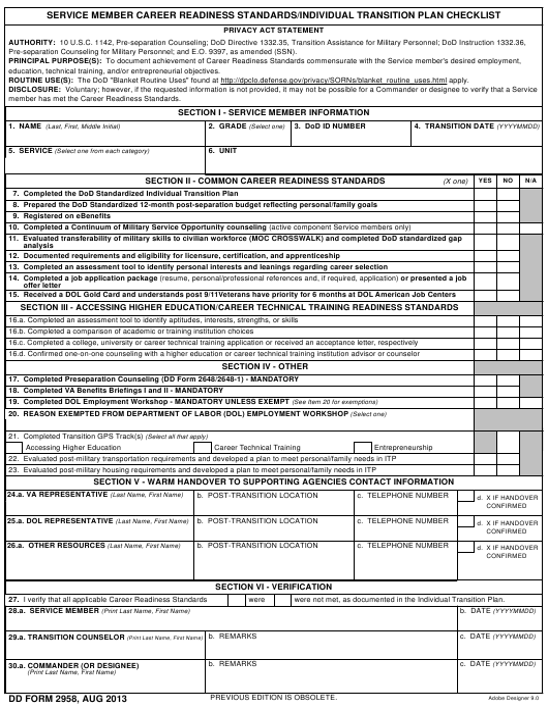 DD Form 2958  Printable Pdf