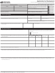 """Ps Form 2591 """"Application for Employment"""""""