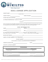 """Dog License Application Form"" - City of Mukilteo, Washington"