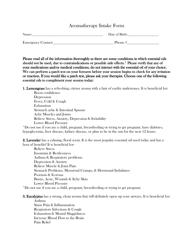 """Aromatherapy Intake Form"""