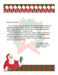 Sample Secret Santa's Letter For Office Workers
