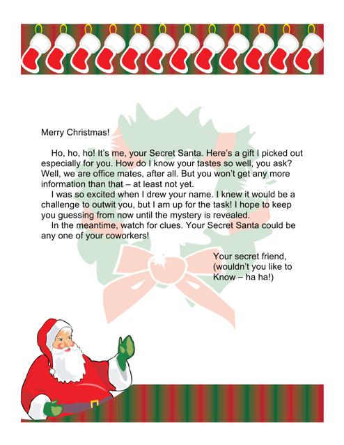 """Sample """"Secret Santa's Letter for Office Workers"""" Download Pdf"""