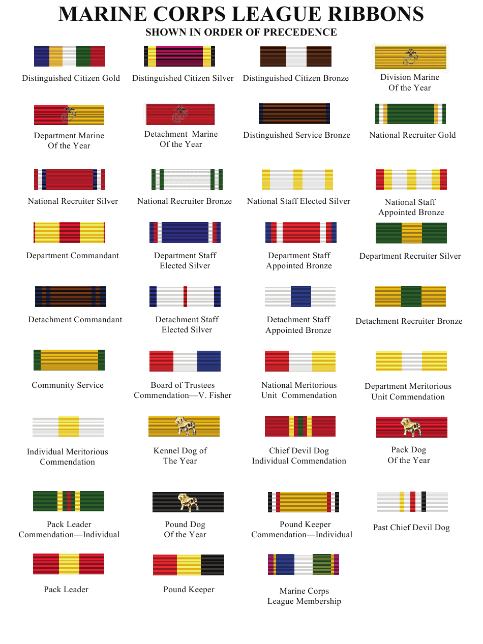 Marine Corps League Ribbons Chart Download Printable PDF ...