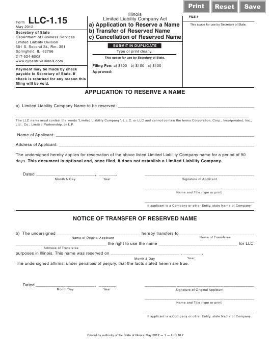 Form LLC-1.15  Printable Pdf