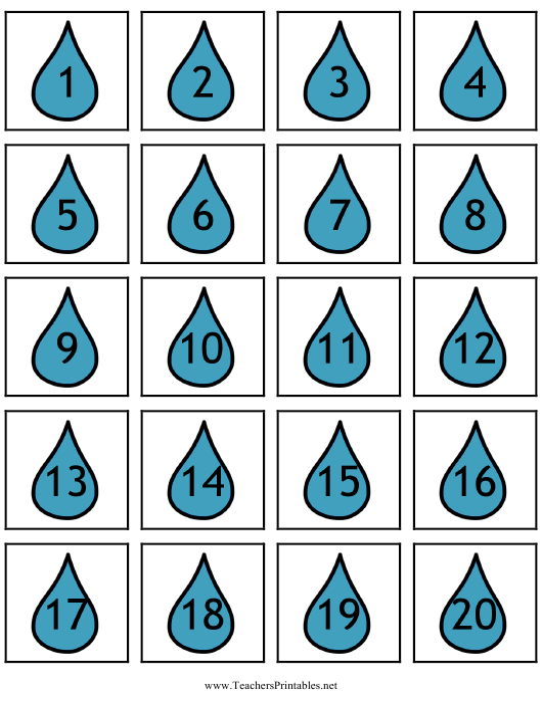 """Raindrop Number Flash Card Templates"" Download Pdf"