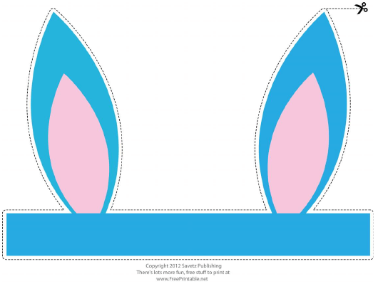 """""""Foldable Turquoise Easter Bunny Ears Template"""" Download Pdf"""