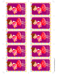 """Girl Giving Gift Tag Template"""