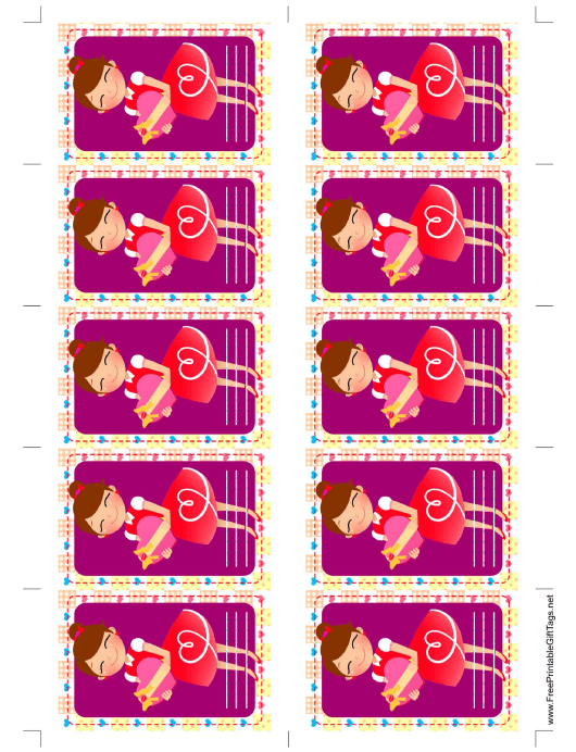 """Girl Giving Gift Tag Template"" Download Pdf"