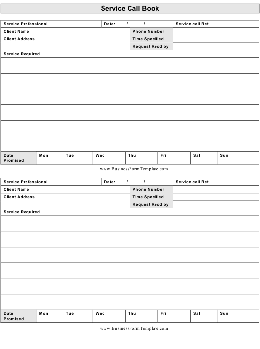 Service Call Book Template Download Printable PDF | Templateroller