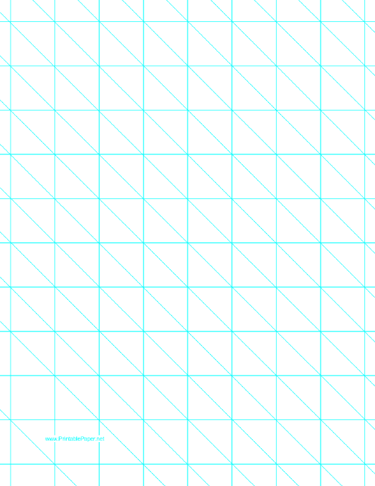 """""""Cyan Diagonals Right With 1 Inch Grid Paper Template"""" Download Pdf"""