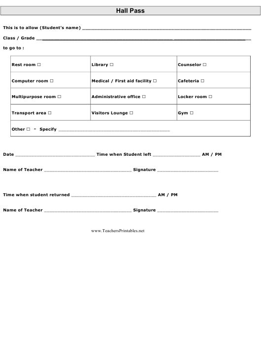 """Hall Pass Template"" Download Pdf"