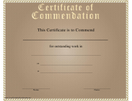 """""""Certificate of Commendation Template"""""""